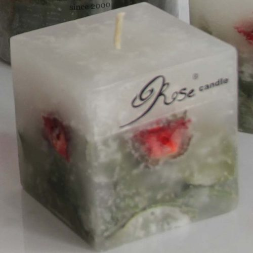 شمع مكعبي گل رز